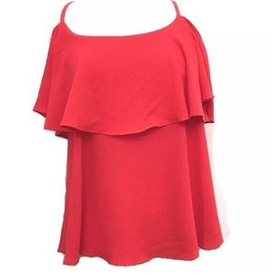 Bobeau Red Large Cold Shoulder Ruffle Top